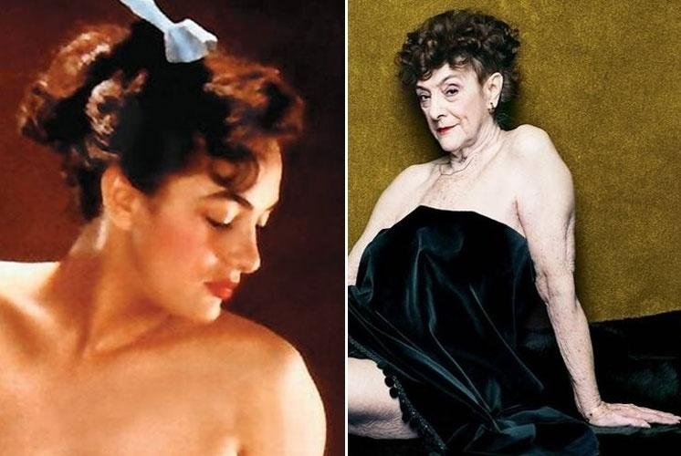 23.out.2014 - Dolores Del Monte, hoje com 82 anos, é a ex-coelhinha mais velha da Playboy e topou o desafio do New York Magazine e relembrou os seus tempos áureos de modelo posando de forma sensual. Dolores posou para o calendário da revista em 1954 (foto à esq.)