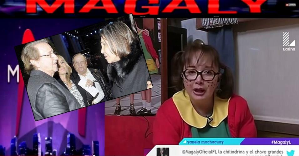 """10.dez.2014 - Sem papas na língua, Maria Antonieta de las Nieves, a Chiquinha do seriado """"Chaves"""", deu um entrevista bem polêmica ao programa de TV peruano """"Magaly Medina"""". A atriz revelou que Florinda Meza, a Dona Florinda, se relacionou com Roberto Bolaños e Carlos Villagrán, respectivamente os intérpretes de Chaves e Quico no seriado, quando eles ainda eram casados com outras mulheres. Com a declaração, Chiquinha colocou lenha na fogueira de um antigo boato sobre uma suposta briga entre os dois atores gerada pelo triângulo amoroso. O fato nunca foi confirmado publicamente por nenhum dos envolvidos e foi negado por Chiquinha na mesma entrevista"""