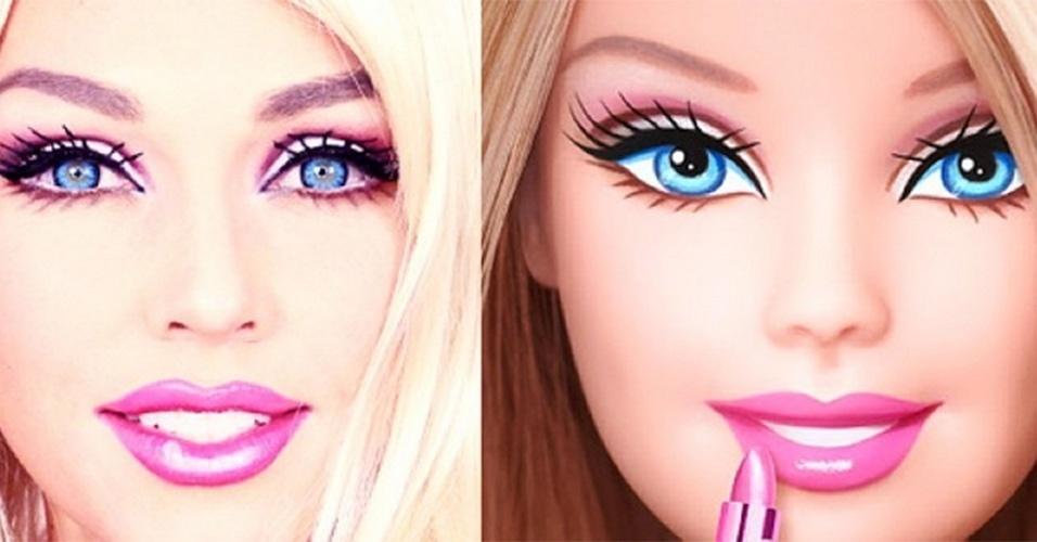 """21.dez.2014 - Uma maquiadora norte-americana faz sucesso no Instagram com fotos em que aparece transformada em celebridades. Kandee Johnson já conquistou mais de 700 mil seguidores na rede social (kandeejohnson) e seus vídeos com tutoriais no YouTube são vistos por 2,7 milhões de assinantes, segundo informações do blog """"Page Not Found"""", do jornal O Globo. Na imagem, a artista (esq.) se mostra como Barbie (dir.)"""