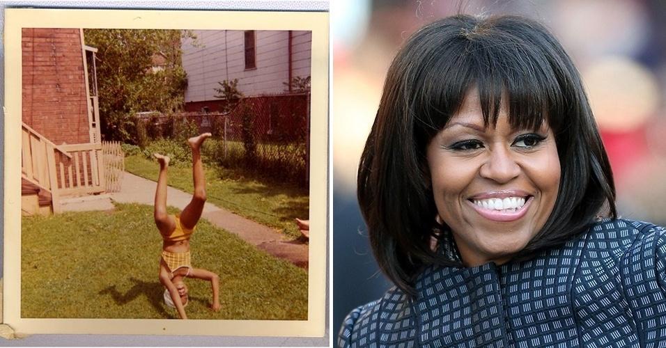 """30.jan.2015 - A criança que aparece fazendo uma """"bananeira"""" em um gramado (à esq.) é Michelle Obama. A mulher do presidente dos EUA também postou uma foto da infância para divulgar o programa público de saúde Obamacare. Na legenda, a primeira-dama escreveu: """"Agora é hora de ficar saudável e buscar cobertura [do plano de saúde] até o dia 15 de fevereiro"""", em referência ao prazo final de inscrição para a cobertura do Obamacare"""