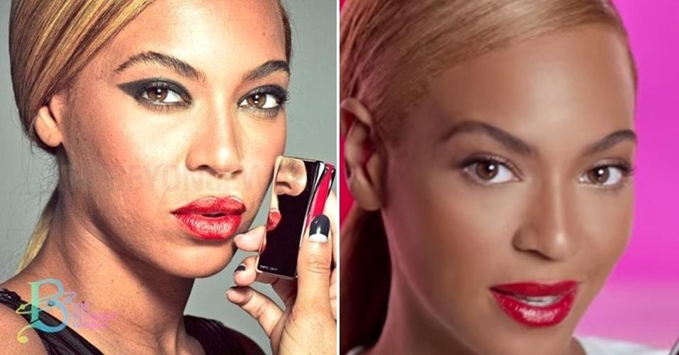 19.fev.2015 - Imagens de Beyoncé sem retoques ganharam repercussão nas redes sociais nesta semana. Na primeira foto (à dir.), divulgada por um site americano,  a cantora aparece bastante maquiada, mas com algumas imperfeições na pele. A imagem foi feita para uma campanha publicitária da L?Oréal, em 2013, mas só agora foram divulgadas. Em um vídeo para divulgar um produto da marca, Beyoncé aparece com a pele impecável (à esq.)