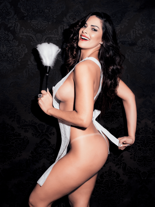 """5.mar.2015 - Nuelle Alves, a Dona Candinha do """"Domingo Show"""", da Record, exibe suas curvas e estampa a capa de fevereiro da revista Playboy"""