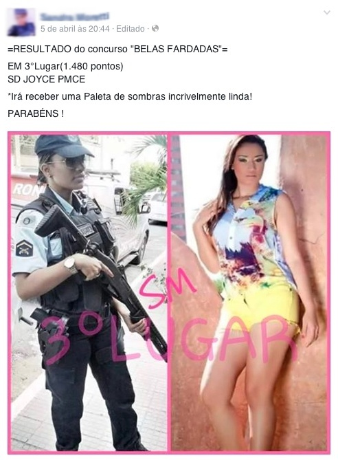 Policiais fazem concurso 'Belas Fardadas' na internet; confira as vencedoras