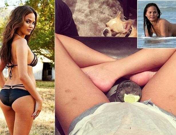 """Usando short e com um copo entre as pernas, Chrissy Teigen exibe manchas roxas e estrias em foto postada no Instagram; a modelo é uma das """"angels"""" da grife Victoria's Secret"""