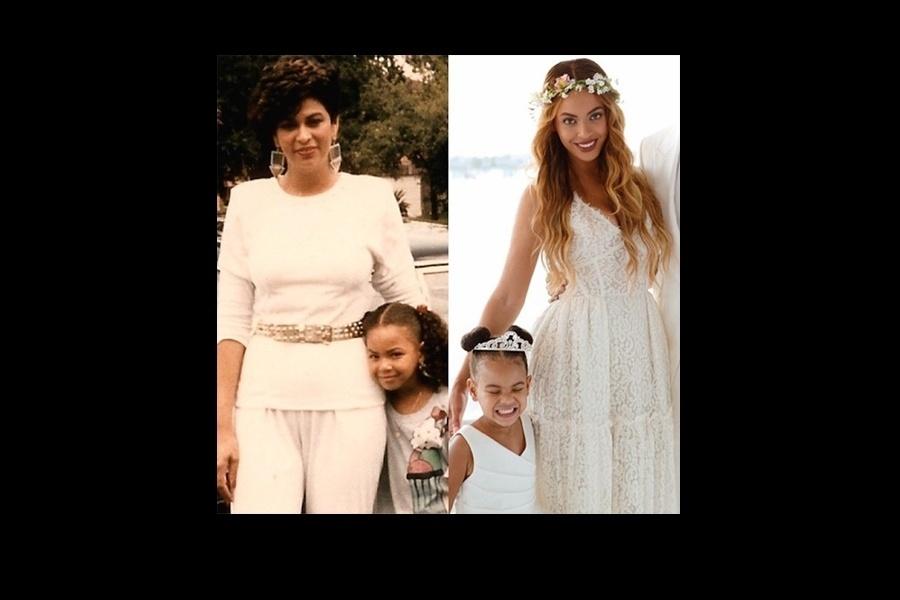 11.mai.2015 - Beyoncé revirou o seu baú de fotografias e postou, no Instagram, uma foto para mostrar a sua semelhança com a filha, Blue Ivy Carter. Na imagem, a cantora aparece ainda criança ao lado da mãe, Tina Knowles (esq.), e também com a filha (dir.), fruto de seu relacionamento com o rapper Jay-Z. E não é que são parecidas mesmo? Beyoncé, aliás, também tem bastante semelhança com a mãe