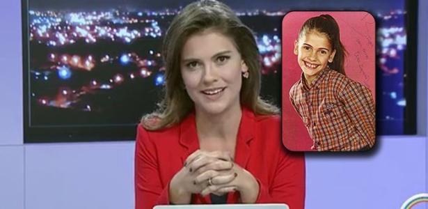 Elisa Veeck na bancada de telejornal da Rede Vanguarda