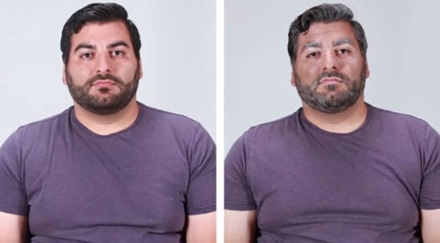 8.set.2015 - Na imagem, Ed (esq.) antes e depois (dir.) da transformação. A mudança em questão faz parte de um vídeo do site americano BuzzFeed que mostrou, com a ajuda da maquiagem, os efeitos do cigarro na aparência das pessoas