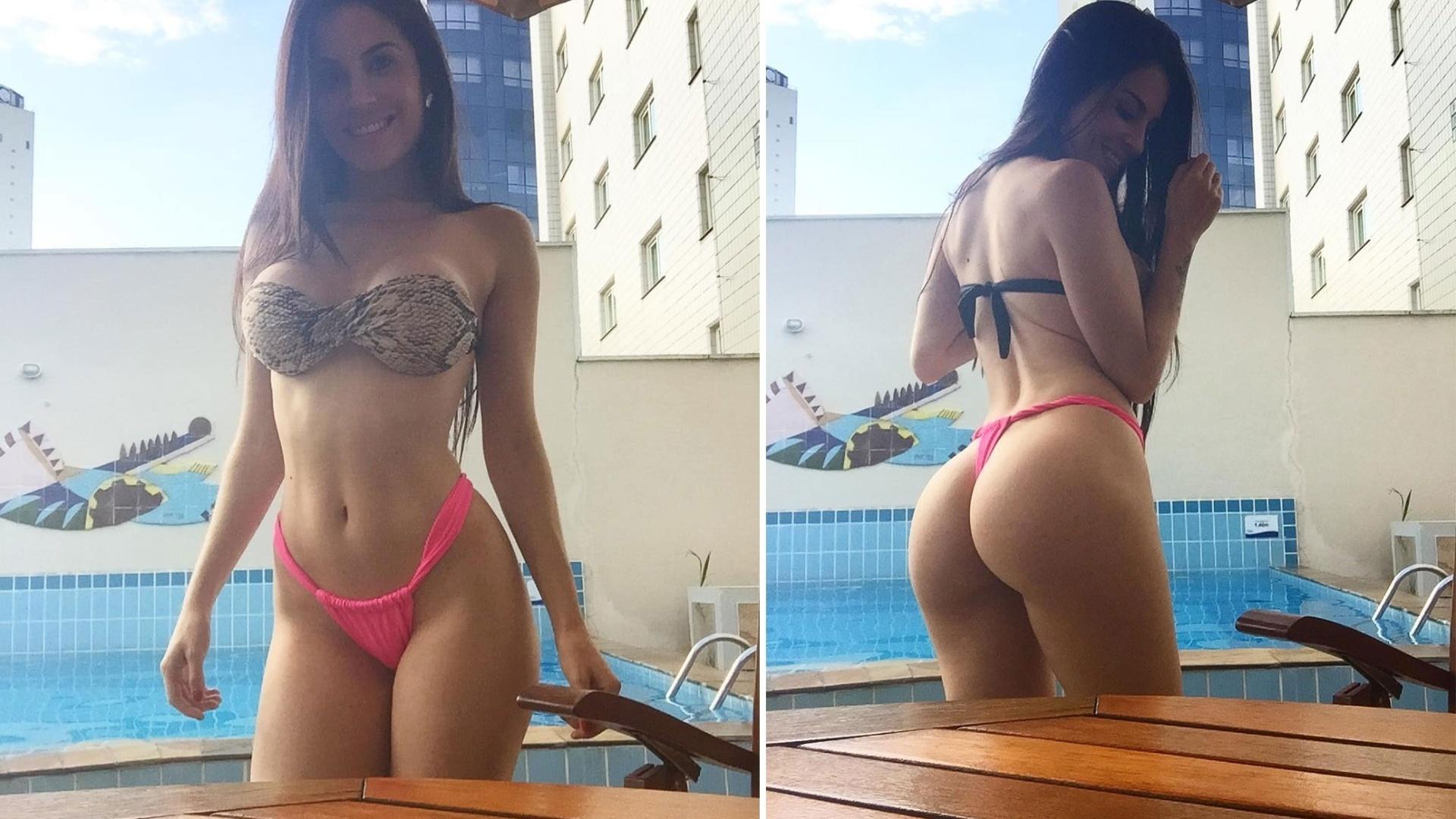 5.fev.2016 - Jéssica Amaral exibiu os atributos em fotos de biquíni à beira da piscina para os seguidores no Instagram. A morena, capa da