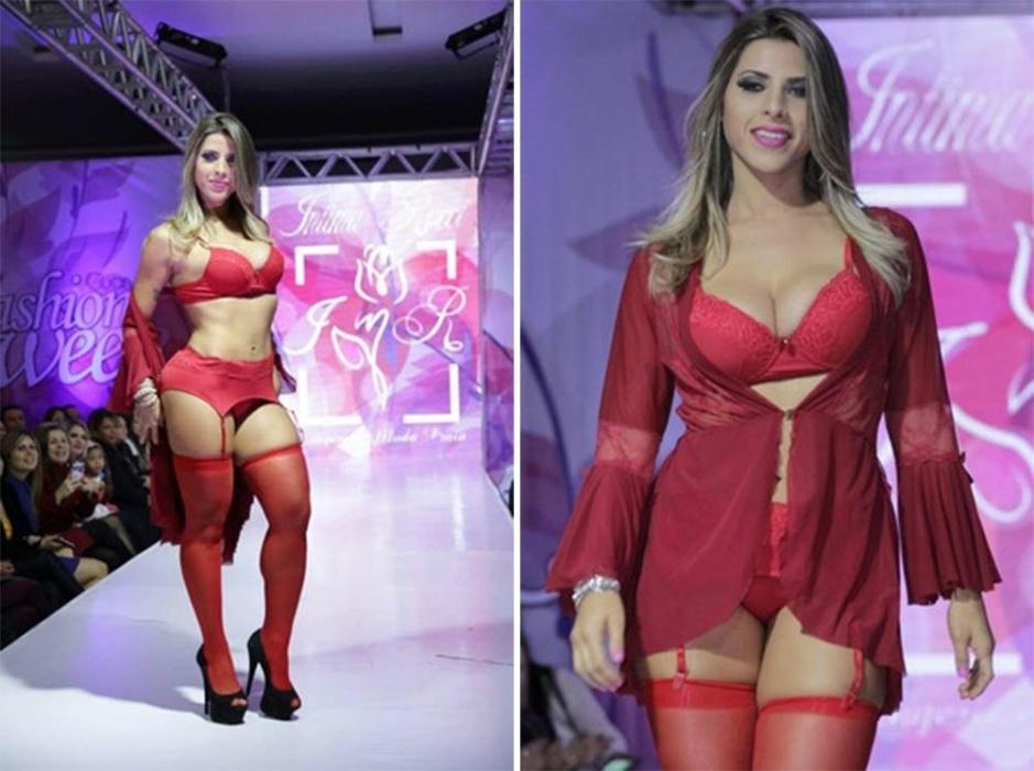 14.jun.2016 - Ana Paula desfilou só de lingerie vermelha e exibiu os pernões em evento de moda em São Paulo
