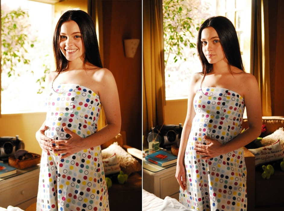 """2008 - Natália, interpretada por Cecília Dassi, grávida na novela """"Três Irmãs"""""""