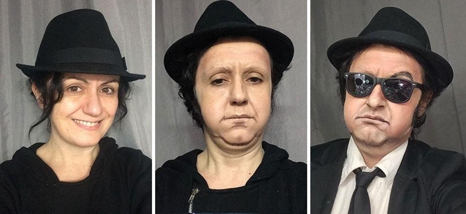 """3. A artista Lucia Pittalis se transforma em outras pessoas usando apenas maquiagem. Aqui, ela vira John Belushi em """"Os Irmãos Cara de Pau"""""""