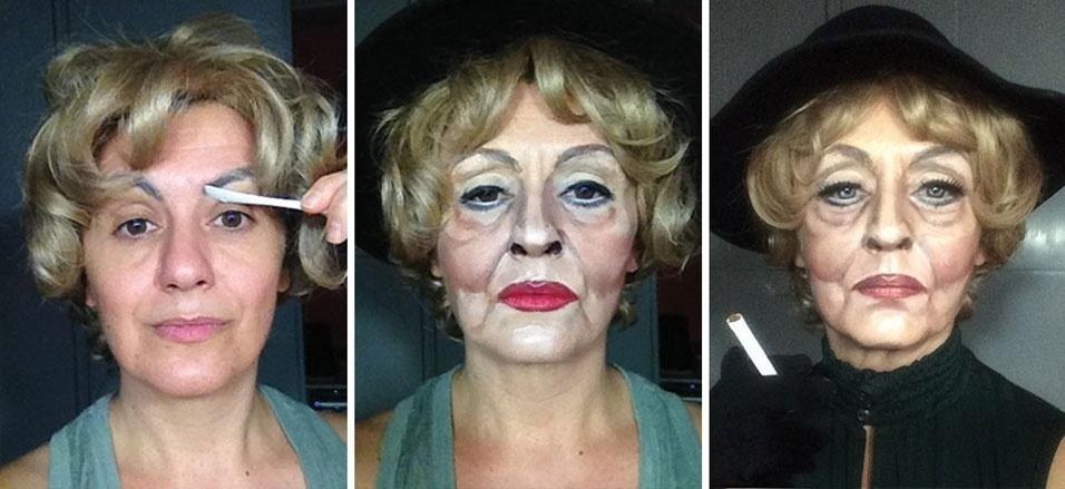 """1. A artista Lucia Pittalis se transforma em outras pessoas usando apenas maquiagem. Aqui, ela vira a atriz Bette Davis em """"A Volta da Montanha Enfeitiçada"""""""