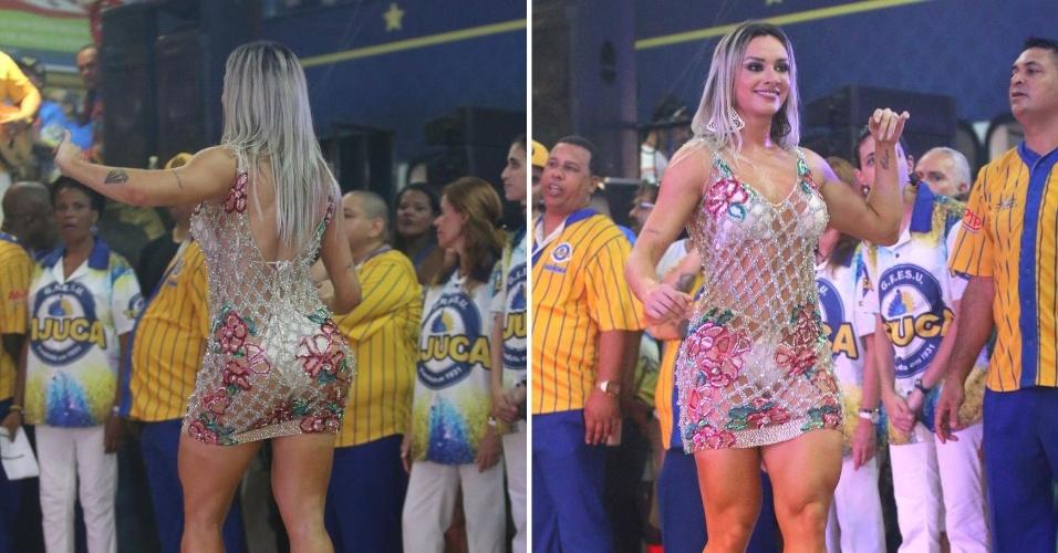 16.out.2016 - A ex-panicat Juju Salimeni deixa as coxas à mostra na festa de escolha do samba-enredo da Unidos da Tijuca