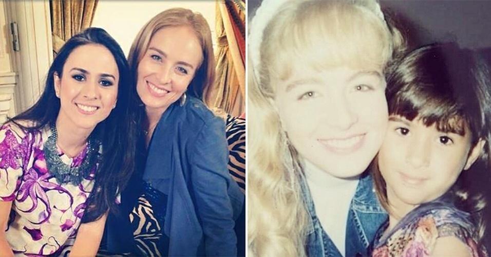 """26.jun.2015 - Tatá Werneck, 31 anos, publicou uma foto antiga (esq.) em que aparece ao lado de Angélica. """"Adoro essa foto"""", escreveu a atriz na legenda da imagem. Tatá, que atualmente interpreta Danda em """"I Love Paraisópolis"""", é dez anos mais nova que a apresentadora do """"Estrelas"""""""