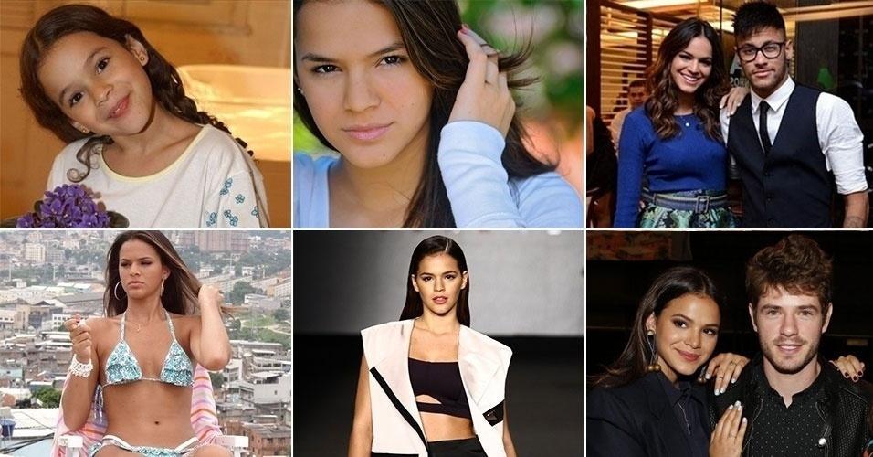 """A atriz Bruna Marquezine estreou em novelas no papel da pequena Salete de """"Mulheres Apaixonadas"""" (2003), da rede Globo. Na trama, ela emocionou o público ao ficar órfã. A atriz completa 20 anos de vida nesta terça-feira (4.ago.2015) e já é dona de uma coleção de prêmios em sua carreira na TV, sendo o seu papel mais recente a personagem Mari da novela """"I Love Paraisópolis"""". Na trama, a gata que já namorou o craque Neymar, contracena com o ator Maurício Destri, apontado como o novo affair da atriz. No entanto, Bruna afirma que não tem nada com o ator e já desmentiu até mesmo a suposta sogra em uma ocasião. Relembre a trajetória da morena"""