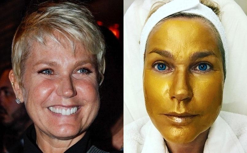"""12.set.2016 - Xuxa Meneghel, 53, mostrou o seu tratamento estético para ficar com a pele do rosto perfeita. Em suas redes sociais, a apresentadora compartilhou uma imagem em que aparece com o rosto completamente pintado, com uma máscara de ouro. """"Quem disse que eu não valho ouro?"""", brincou Xuxa na legenda. """"É uma máscara para hidratar e melhorar as rugas"""", completou ao responder uma seguidora"""