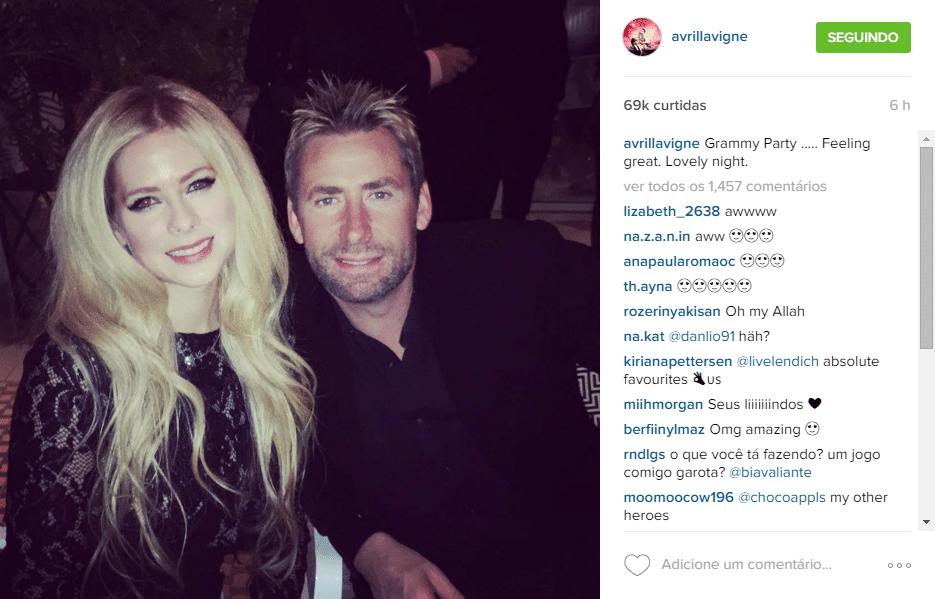 15.fev.2016 - Avril Lavigne reencontrou seu ex-marido Chad Kroeger na pré-festa do Grammy, promovida pelo produtor Clive Davis, na noite deste domingo. A cantora publicou duas fotos em sua conta do Instagram para marcar o momento e fãs questionaram se eles teriam reatado