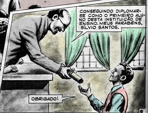 Detalhe do quadrinho restaurado contando a história de Silvio Santos