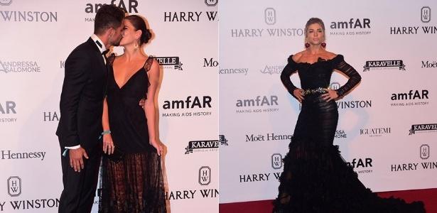 Cauã Reymond e Mariana Goldfarb se beijam ao chegar no baile da amfAR, festa que também teve a presença de Grazi Massafera