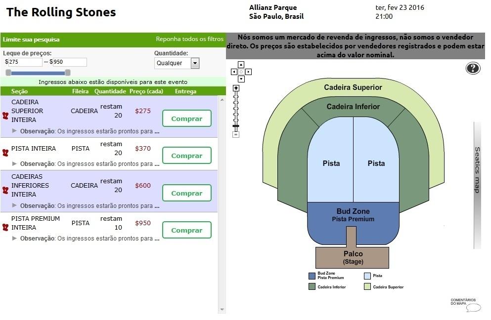 Mapa do Allianz Parque com suposta divisão de setores para show dos Stones em SP