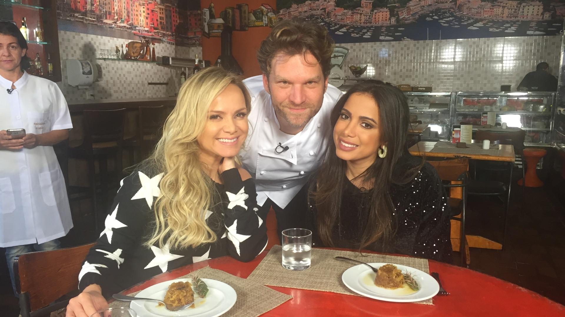 No mesmo programa, Eliana e Anitta saboreiam um prato surpresa preparado pelo chef Carlos Bertolazzi