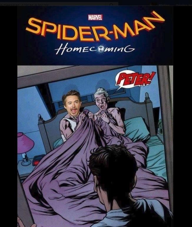 8.jun.2016 - Robert Downey Jr., interprete do Homem de Ferro, usou sua página no Facebook para brincar sobre a relação da Tia May com o seu personagem