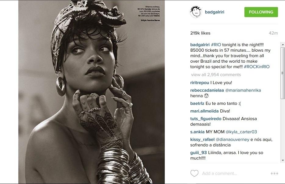 25.set.2015 - Rihanna posta foto de ensaio fotográfico feito no Brasil e agradece aos fãs por fazerem seu show no Rock in Rio especial para ela.