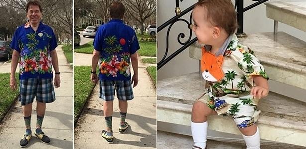13.dez.2015 - Em homenagem ao pai, Patrícia Abravanel veste o filho, Pedro, com um look florido e meias por cima da canela