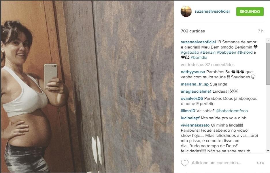 """17.fev.2016- Suzana Alves mostra barrigão de quatro meses de gravidez: """"18 Semanas de amor e alegria!!! Meu Bem amado Benjamin"""", escreveu a ex-Tiazinha"""