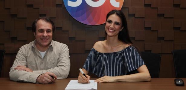 Diretor do SBT Fernando Pelegio e Chris Flores nesta sexta-feira