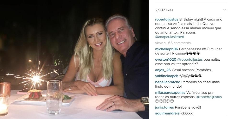 18.fev.2016 - Na noite desta quinta-feira, Ana Paula Siebert comemorou seu aniversário de 28 anos e ganhou uma declaração de seu marido, o apresentador Roberto Justus, no Instagram.