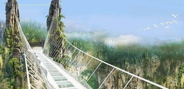 Projeção da ponte chinesa, que estará a 300 metros de altura