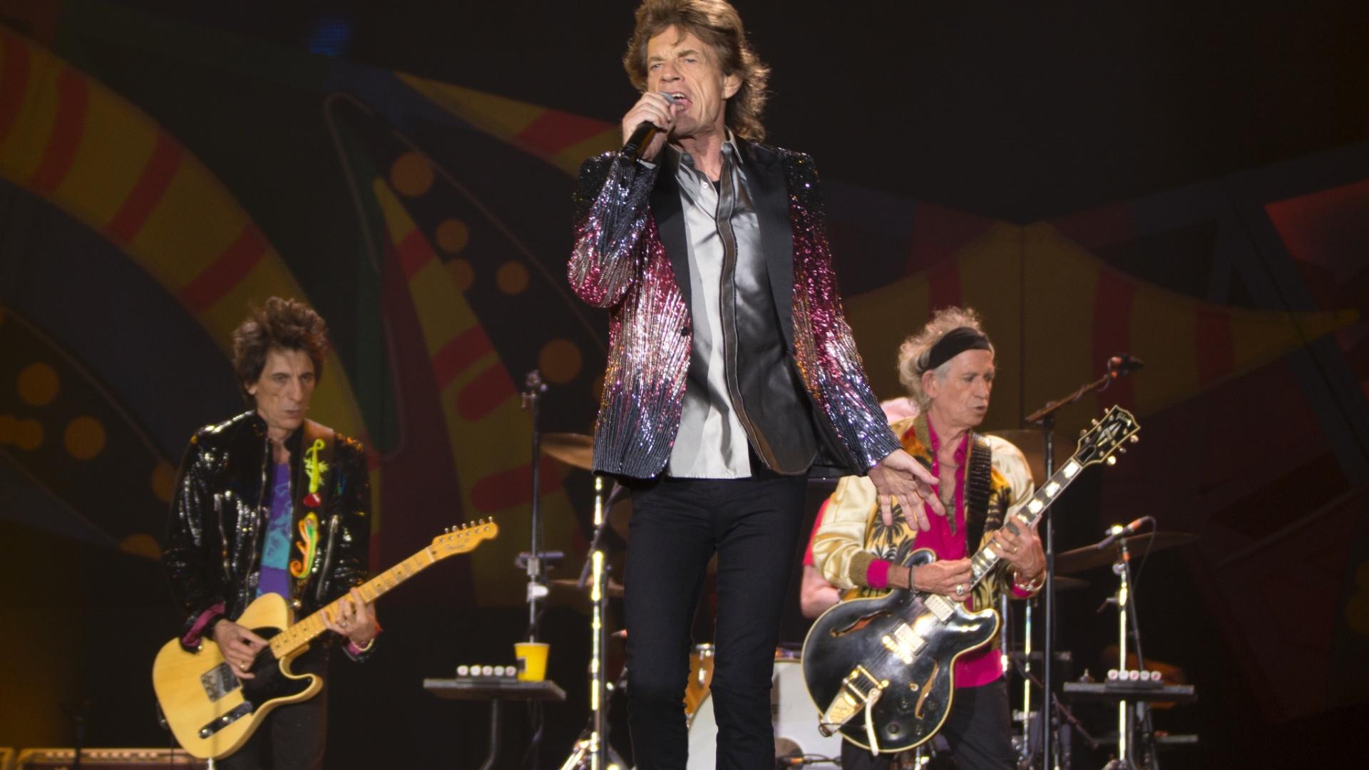 03.fev.2016 - Mick Jagger comanda os Stones durante apresentação em Santiago, no Chile