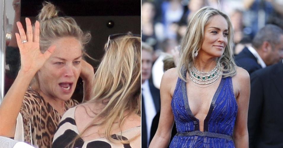 23.mai.2013 - Sharon Stone foi fotografada sem maquiagem e descabelada enquanto tomava café da manhã no iate de Roberto Cavalli, em Cannes (à esq). A atriz, que tem 55 anos anos, desfilou no tapete vermelho do Festival de Cannes com looks deslumbrantes ao longo da semana (à dir)