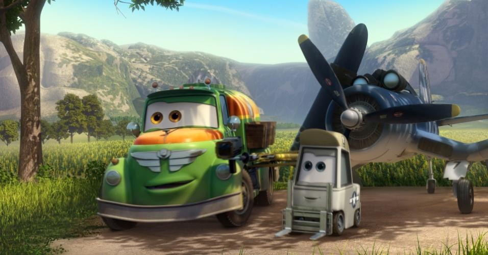 """Cena do filme """"Aviões"""", animação da Disney. Derivada de """"Carros"""", a produção deve estrear no Brasil no dia 13 de setembro em cópias 3D e conta a história de um avião pulverizador agrícola profissional que tenta participar de uma corrida internacional."""