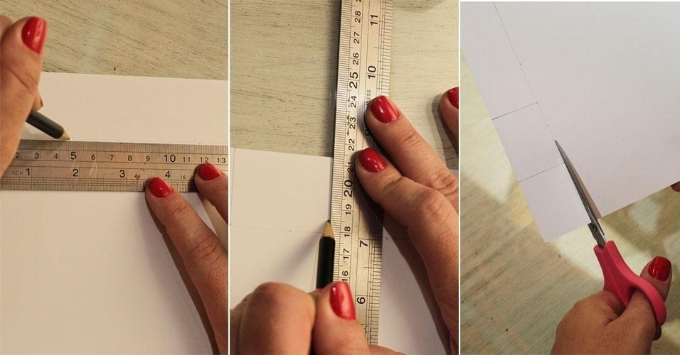 Agora você vai fazer molduras para as fotos, usando a folha branca. Para isso, basta desenhar retângulos de 3,5 cm X 4,5 cm