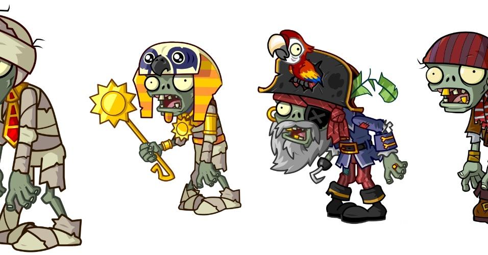 """Zumbis ganham trajes de múmia e pirata em """"Plants vs. Zombies 2""""."""