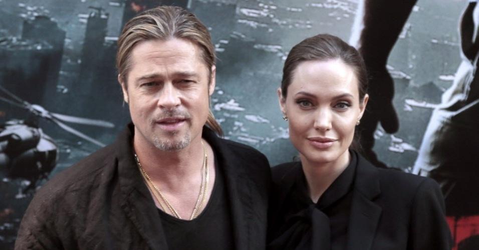 3.jun.2013 - Brad Pitt e Angelina Jolie na pré-estreia parisiense de