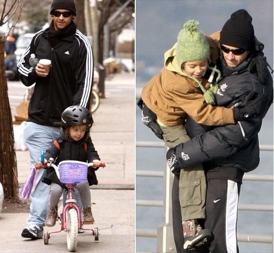 O ator australiano Hugh Jackman, casado com a atriz Deborra-Lee Furness, tem um casal. O primeiro a ser adotado foi Maximillian (dir) em 2000, e a menina Ava Eliot nasceu em 2005 e foi adotada ainda recém-nascida