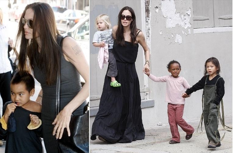 Primeiro Angelina Jolie adotou o cambojano Maddox (esq). Após a união com Brad Pitt, o casal adotou a menina Zahara, que é da Etiópia, e o tailandês Pax Thien (de macacão). Ao todo são seis os filhos dos atores, contando com Shiloh (no colo) e os gêmeos Knox Léon e Vivienne Marcheline