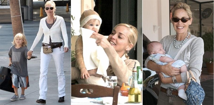 Sharon Stone e o jornalista Phil Bronstein, com quem a atriz foi casada de 1998 até 2004, adotaram o menino Roan Joseph (esq) em 2000. Após separar-se, a atriz adotou mais dois meninos, Laird Vonne em 2005 (centro) e Quinn Kelly em 2006