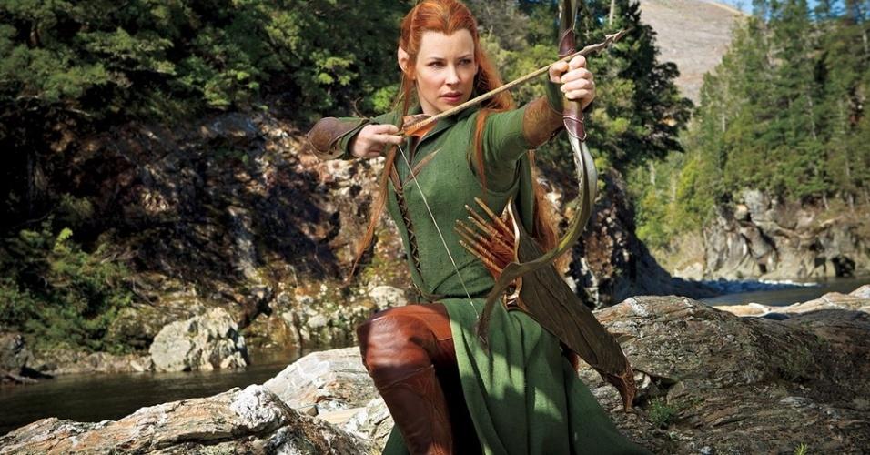 """Evangeline Lilly como a elfa Tauriel de """"O Hobbit: A Desolação de Smaug"""""""