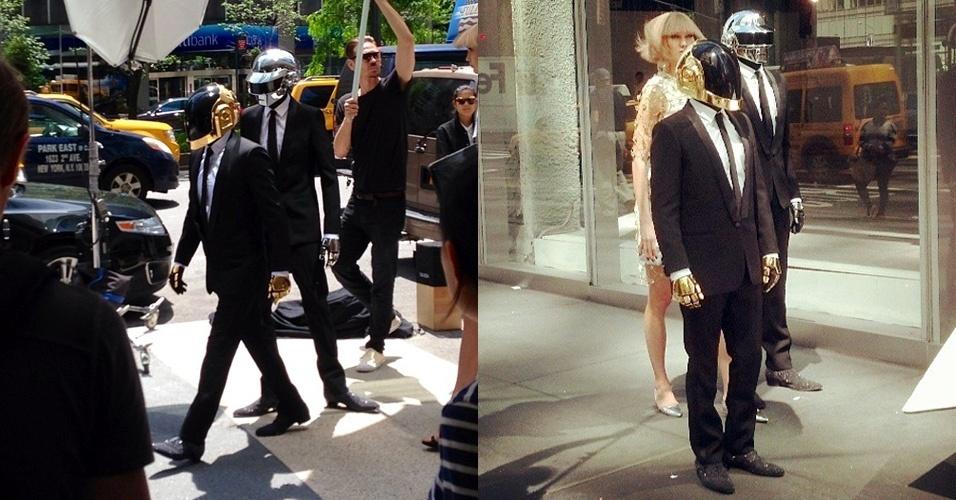 Vestidos de robôs, os franceses Thomas Bangalter (mais alto) e Guy-Manuel de Homem-Christo (capacete dourado), gravam clipe em Nova York