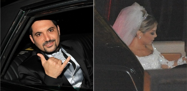 11.jun.2013 - O noivo Edson e a noiva Andrea, na entrada da festa, realizada em uma casa em Moema, na zona sul de SP