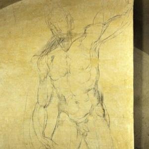 Detalhe de um dos desenhos em carvão de Michelangelo encontrados em uma sala secreta na Basílica de San Lorenzo de Florença, na Itália