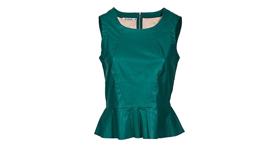 Blusa verde em couro ecológico; R$ 149,90, no Olook (www.olook.com.br) Preço pesquisado em junho de 2013 e sujeito a alterações