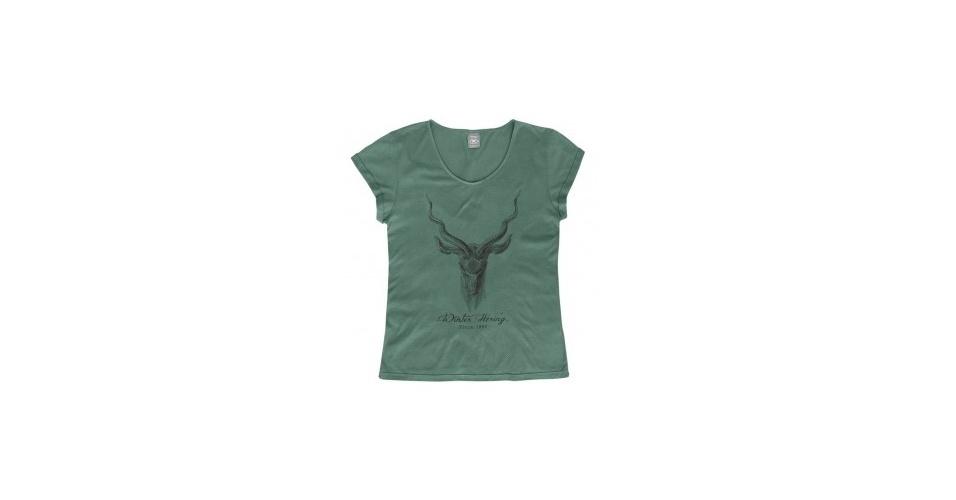 Camiseta verde estampada; R$ 59,99, na Hering (www.hering.com.br) Preço pesquisado em junho de 2013 e sujeito a alterações