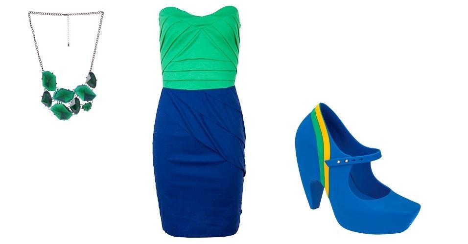 O azul também pode ganhar o foco no look da torcida brasileira. O tomara-que-caia combinado à Melissa é um look que chama a atenção, mas é bastante moderno