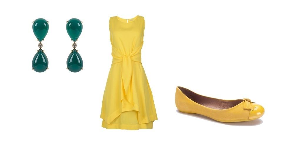 O look total amarelo ganha ares de torcida com um brinco verde. Aposte nos acessórios para dar cara de torcida ao visual