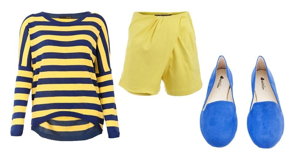 Se você quiser fugir da tradicional combinação da bandeira, que tal investir em looks com azul e amarelo? As listras estão em alta e podem ser usadas na torcida